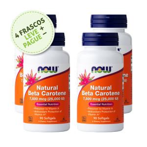Betacaroteno Natural, 7500mcg (25.000iu), Now Foods, 90 Softgels (4 Un.)