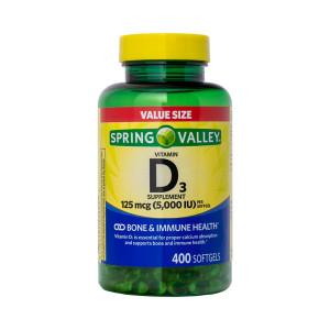 Vitamina D-3, 125mcg (5000iu), Spring Valley, 400 Softgels (Mais de 1 Ano de D-3)